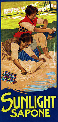 Sunlight Sapone Soap Ladies Washing Clothes Italy Vintage Poster Repo FREE S/H
