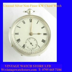 Stunning-amp-Rare-Silver-WhitMarsh-of-Chard-Non-Fusee-Key-Wind-Pocket-Watch-1827