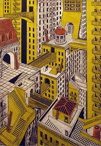 John-Ross-034-Metropolis-034-Signed-Numbered-Artwork-Collagraph-city-buildings-OBO