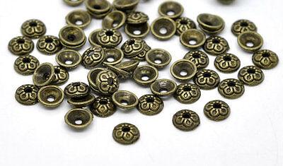 FLOWER BEAD CAPS Antique Bronze Coloured 7mm Lead & Nickel Free Findings
