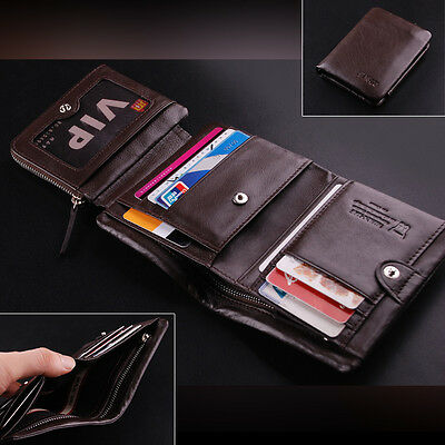 Men's Top ITALIAN Oil Patent Leather Trifold Wallet Purse Black Brown Luxury