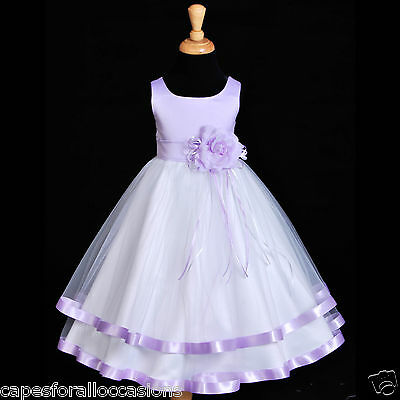 NEW WHITE LILAC PURPLE SATIN TULLE SASH WEDDING FLOWER GIRL DRESS 12-18M 2 4 6 8