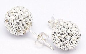 Details About 925 Sterling Silver 6mm Crystal Ball Stud Earrings Made With Swarovski Elements