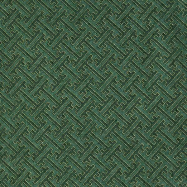 MEMOIRS OF A GEISHA GREEN GEOM W/GOLD Cotton Fabric BTY for Quilting, Craft, Etc