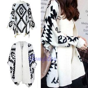 Women-Geometric-Pattern-Oversized-Open-Front-Loose-Sweater-Wrap-Cape-Cardigan