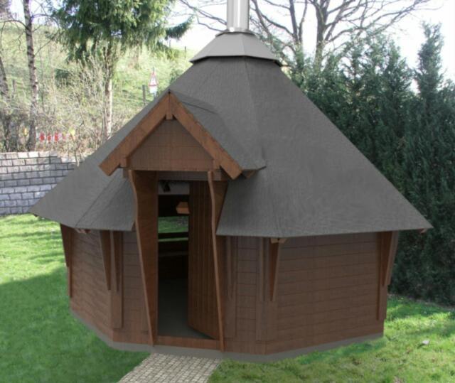 Grillkota 3,5m Sauna Kota Gartenhütte Hütte Grillhütte Bauplan Bauanleitung