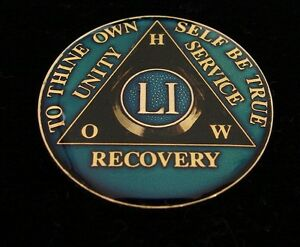 51 Year Alcoholics Anonymous Anniversary Blue Tri Plate Medallion Coin Chip