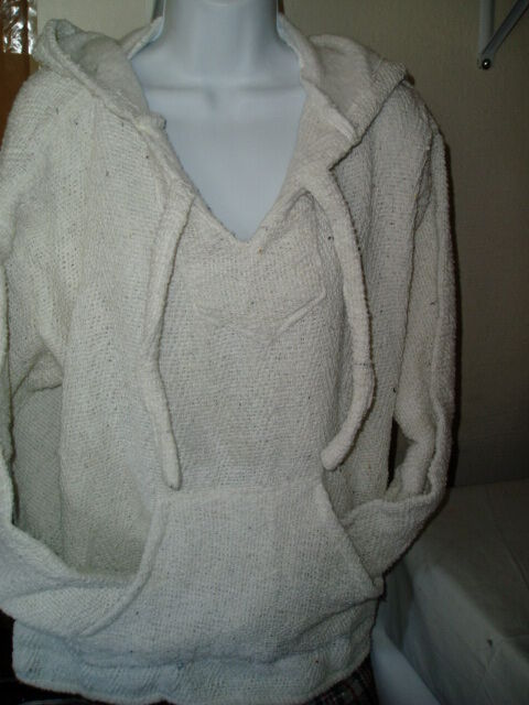 SMALL AUTHENTIC MEXICAN NATURAL OFF WHITE BAJA HOODIE SURF SHIRT  HIPPIE JACKET