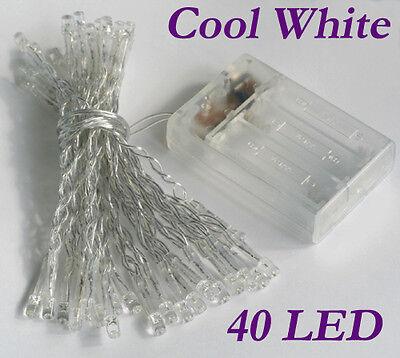 Cool White 40 LED Christmas String Fairy Lights AA Battery Power