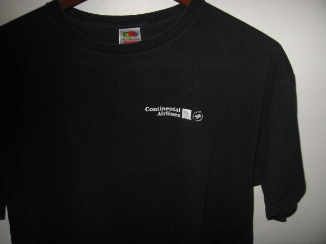 Continental Airlines CO CAL Sky Team Houston Texas World Logo Blue T Shirt XLrg