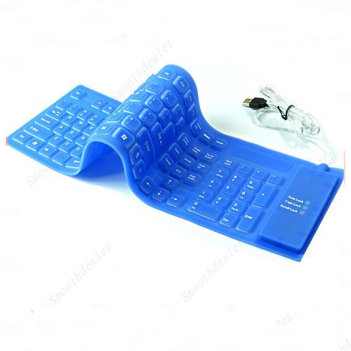 109 Keys USB Silicone Rubber Waterproof Flexible Foldable Keyboard For PC Blue