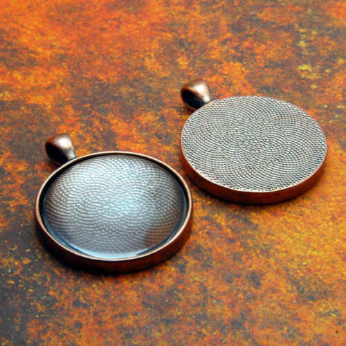 """10 QTY PRO 38MM 1.5/"""" Inch ROUND ANTIQUE COPPER Pendant Tray Bezel /& GLASS"""