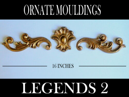 FOUR SETS FRENCH ORNATE SCROLLS CENTER PIECE ANTIQUE GOLD DECORATIVE MOULDINGS