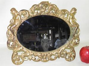 ANTIQUE-FIGURAL-ORNATE-BRONZED-VANITY-DRESSER-TABLE-MIRROR-FRAME-EASEL-BACK