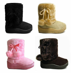 NEW-BABY-TODDLER-GIRLS-FAUX-FUR-COVERED-FUZZY-BOOTS-W-POM-POMS-SIZES-4-12