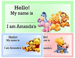 Image Is Loading 20 WINNIE THE POOH BABY SHOWER NAME TAGS