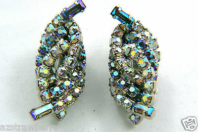 Vintage Silver Tone Aurora Borealis Rhinestone Crystal clip on Earrings $0 sh