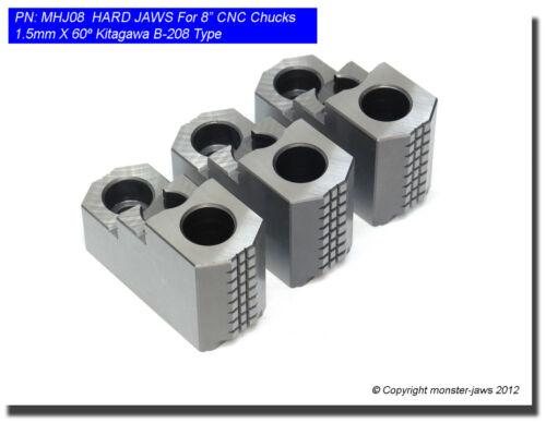 "8"" HARD JAWS for Kitagawa B-208 Type 1.5mm x 60 CNC Lathe Chuck, Hardened 3 New"
