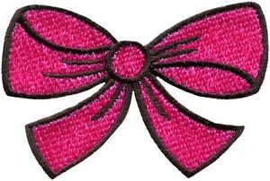 Hot-pink-bow-knot-ribbon-boho-retro-sew-sewing-applique-iron-on-patch-new-S-443