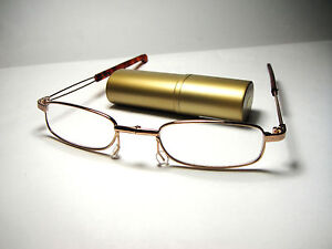 Small-Folding-Reading-Glasses-Man-Woman-Reader-with-Hard-Case-BLACK-GOLD