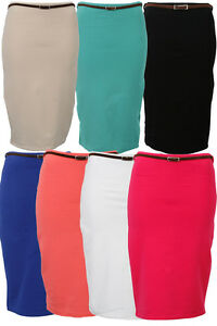 31H-NEW-WOMENS-HIGH-WAISTED-BELTED-STRETCH-LADIES-BODYCON-PENCIL-SKIRT-SIZE-8-14