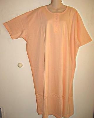 ~NEW~PEACH HENLEY LONG COTTON NIGHTSHIRT O/S FITS S-XLG