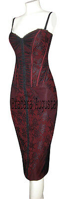 KAREN MILLEN BLACK & RED LACE CORSET VERY RARE DRESS SZ 8 BNWT