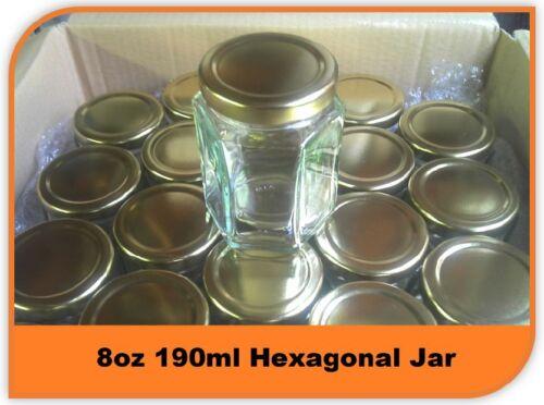 10 X 8oz 190ml HEX PRESERVE HEXAGONAL GLASS JAR JAM HONEY CHUTNEY WITH LIDS