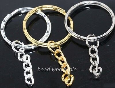 10pcs silver/golden/dark silver metal key ring chain findings 30mm u pick colour