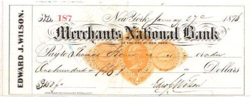 MERCHANTS NATIONAL BANK of The City of New York 1876 Check