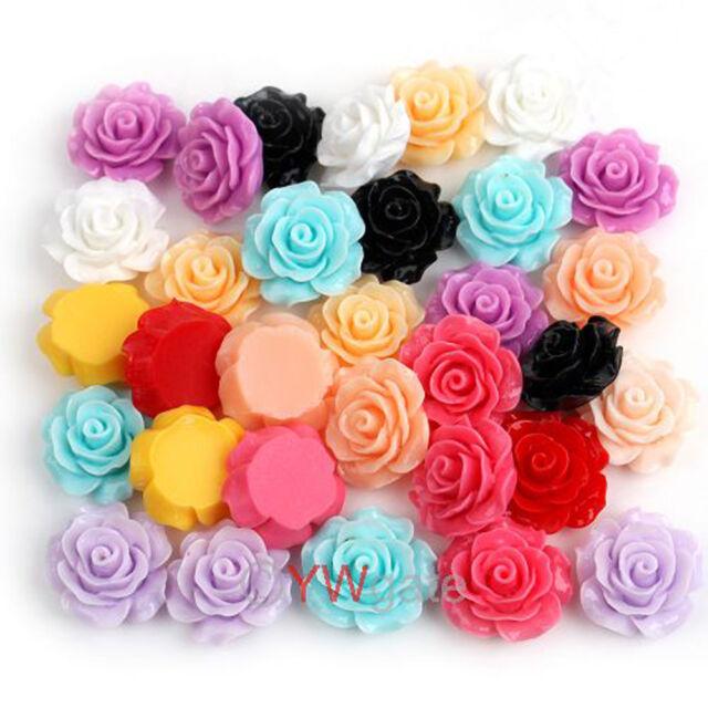 55pcs Mixed Lots Resin Rose Flowers Cabochons Cameo Flat Back 18mm 111579