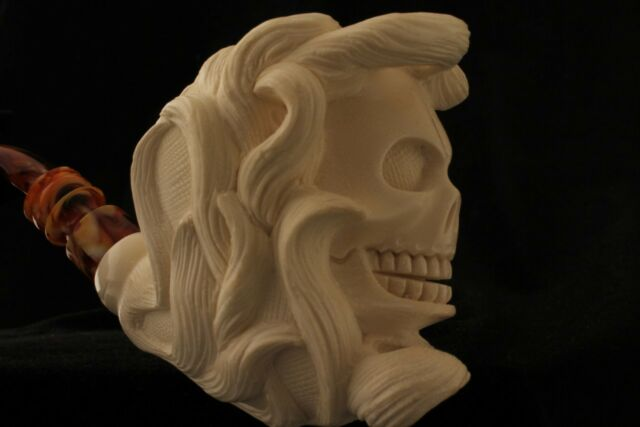 Skull in FLAMES Hand Carved by Master Carver I. BAGLAN Meerschaum Pipe case 3755