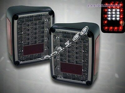 2007-2014 Jeep JK Wrangler LED Tail Lights Sport Rubicon Sahara Unlimited Smoke