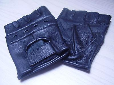 Biker Fingerlinge, fingerlose Handschuhe echt Leder schwarz  XS,S,M,L,XL,XXL