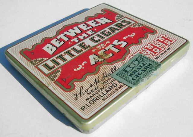 Rare Old Antique Lithograph Cigar Tin BETWEEN THE ACTS with Insert