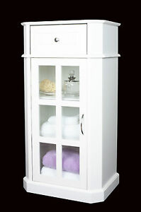 White-Wood-amp-Glazed-Door-Storage-Cabinet-Unit-Cupboard-bathroom-or-bedroom