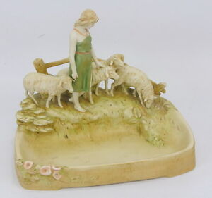 Rare-Antique-Royal-Dux-Bohemia-Figure-Sheep-Group