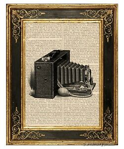 Brownie-Camera-Art-Print-on-Antique-Book-Page-Vintage-Illustration-Photography