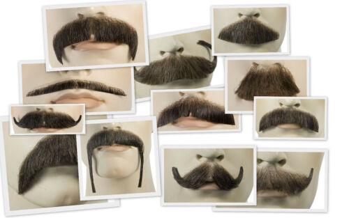 Deluxe Human Hair Mustache - Wide Variety of Mustache Styles and Colors