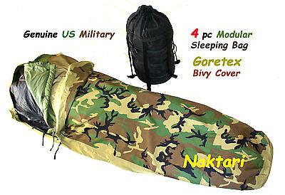 Genuine US Military GORETEX BIVY Modular Sleeping Bag System 4pc Excellent Cond.