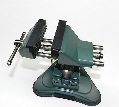 "VISES BENCH TABLE TOP VACUUM BASE VISE JOINT ROATES 360 2-3/4"" RUBBER LINED JAWS"