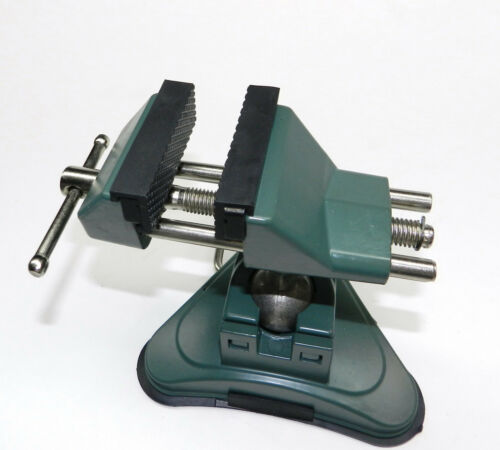 """VISES BENCH TABLE TOP VACUUM BASE VISE JOINT ROATES 360 2-3/4"""" RUBBER LINED JAWS"""