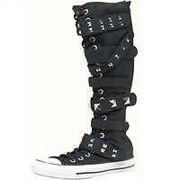 CONVERSE-XX-Hi-Tops-Knee-High-Length-Black-Boots-ALL-STAR-Buckle-Chuck-3-4-BNIB