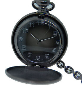 Charcoal-Grey-Hunter-Case-Pocket-Watch-with-Chain