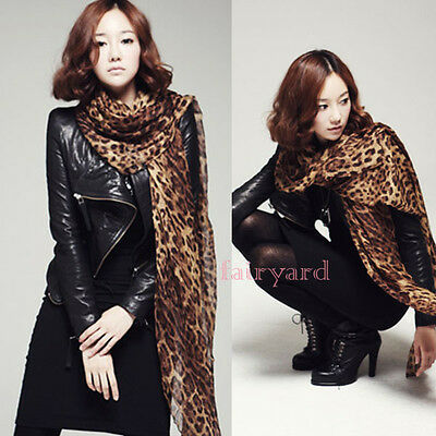 Women's Georgette Gauz Wrap Scarf Shawl Scarves Sexy Leopard Long Large Fashion