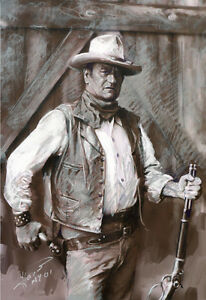John Wayne Duke Actor Art Print On Archive Paper By