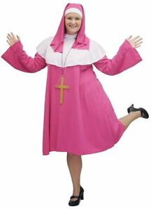 SHORT-PINK-Fabulous-PLUS-SIZED-NUN-CROSS-FANCY-DRESS-COSTUME-sizes-18-42