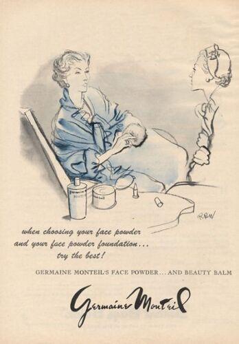 1951 Germaine Monteil Face Powder Foundation ART PRINT AD