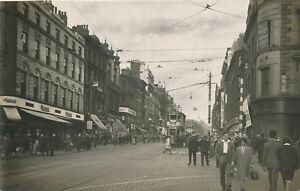 Lancs-MANCHESTER-Market-St-Tram-810-Real-Photo-nice-street-scene-1950s