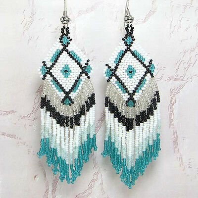 NEW WOMEN NATIVE AMERICAN INSPIRED BLACK GREEN WHITE BEADED EARRINGS E16/3